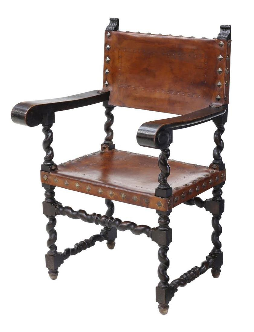 SPANISH BAROQUE CARVED LEATHER ARMCHAIR 19TH C
