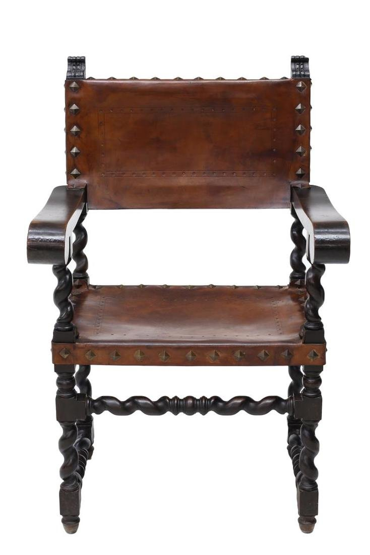 SPANISH BAROQUE CARVED LEATHER ARMCHAIR 19TH C - 2