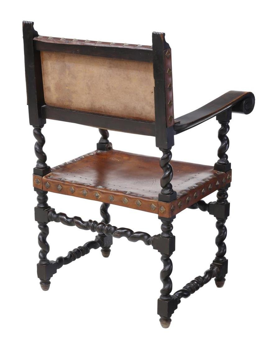 SPANISH BAROQUE CARVED LEATHER ARMCHAIR 19TH C - 3