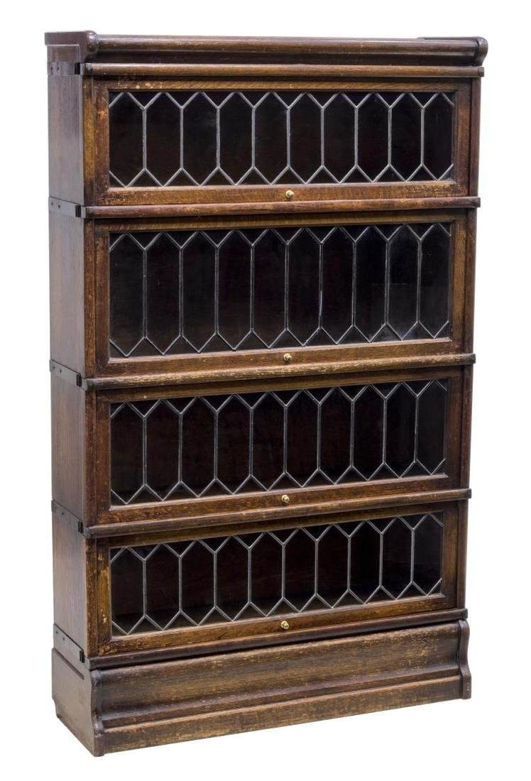 LAWYER'S OAK & LEADED GLASS FOUR STACK BOOKCASE