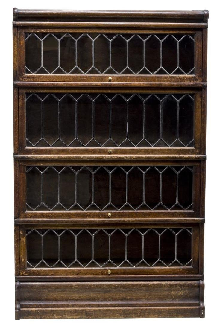 LAWYER'S OAK & LEADED GLASS FOUR STACK BOOKCASE - 2