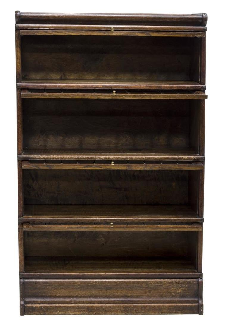 LAWYER'S OAK & LEADED GLASS FOUR STACK BOOKCASE - 3