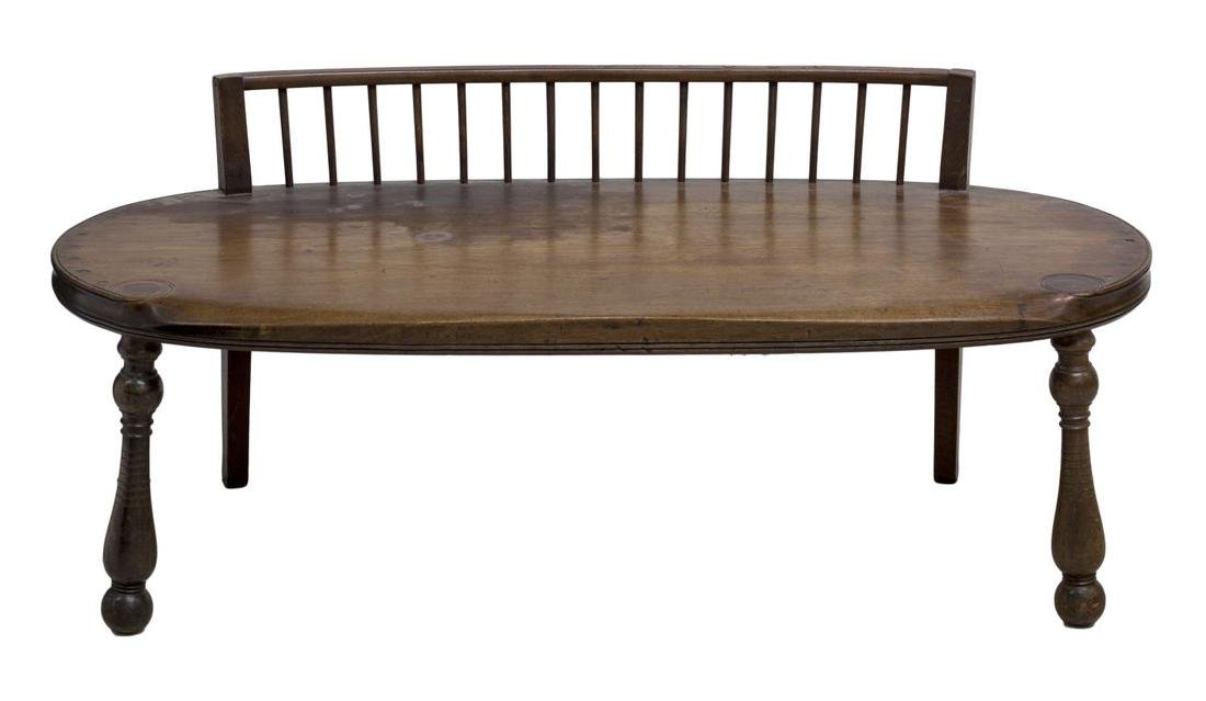 SHORT SPINDLE BACK OVAL FORM BENCH SETEE, 19TH C - 2