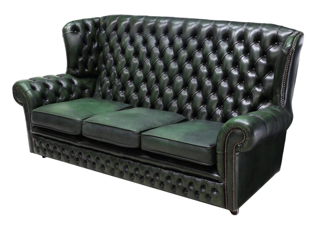 ENGLISH CHESTERFIELD GREEN LEATHER SOFA