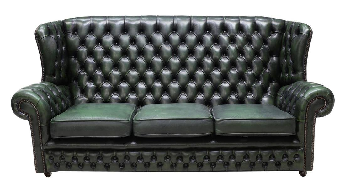 ENGLISH CHESTERFIELD GREEN LEATHER SOFA - 2