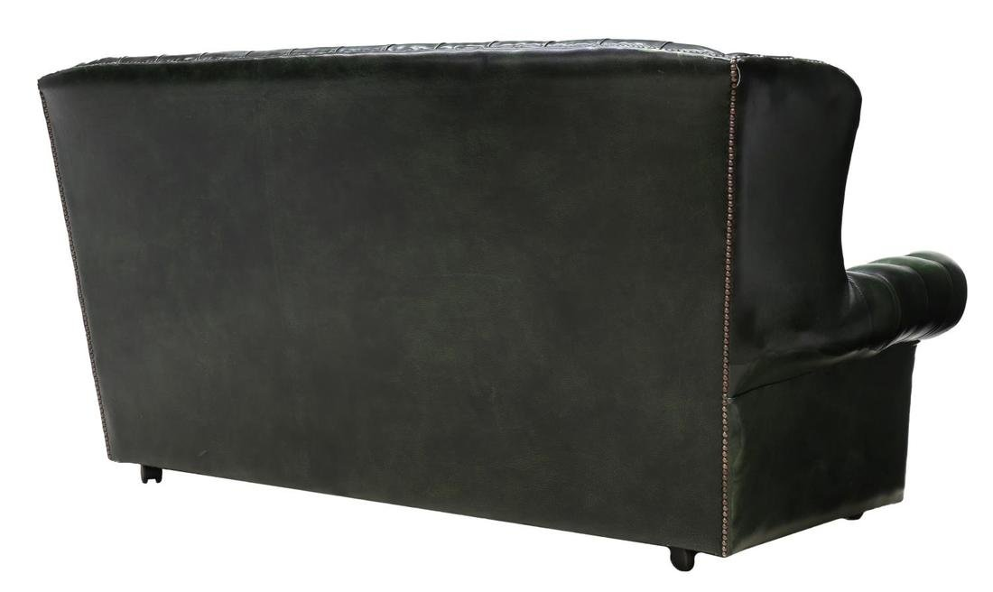 ENGLISH CHESTERFIELD GREEN LEATHER SOFA - 3
