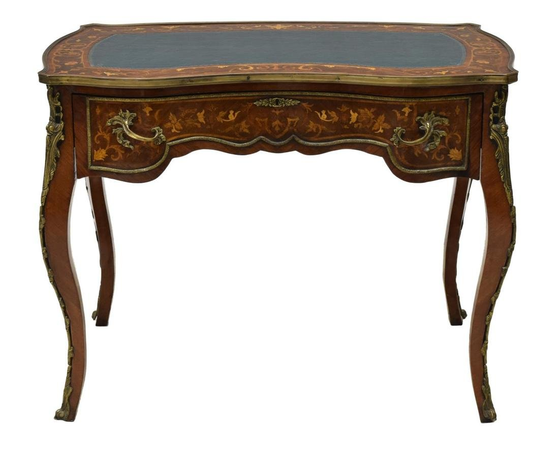 FRENCH LOUIS XV STYLE MARQUETRY WRITING TABLE