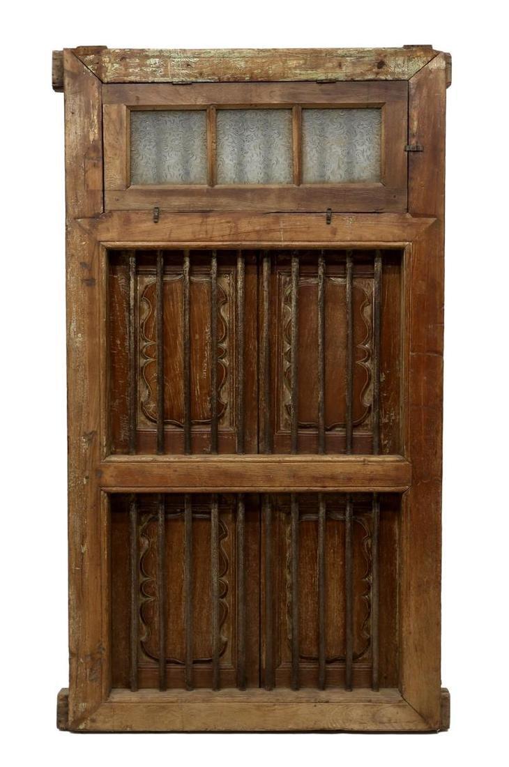 TEAKWOOD IRON & GLASS TWO DOOR WINDOW - 4