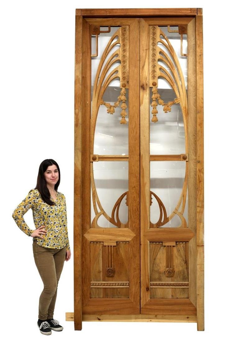 (PAIR) FANCY WOOD & GLASS DOORS WITH FRAME