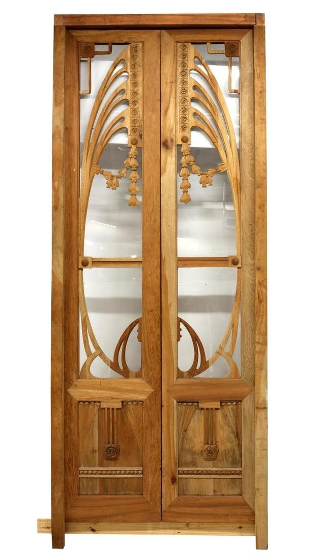 (PAIR) FANCY WOOD & GLASS DOORS WITH FRAME - 2