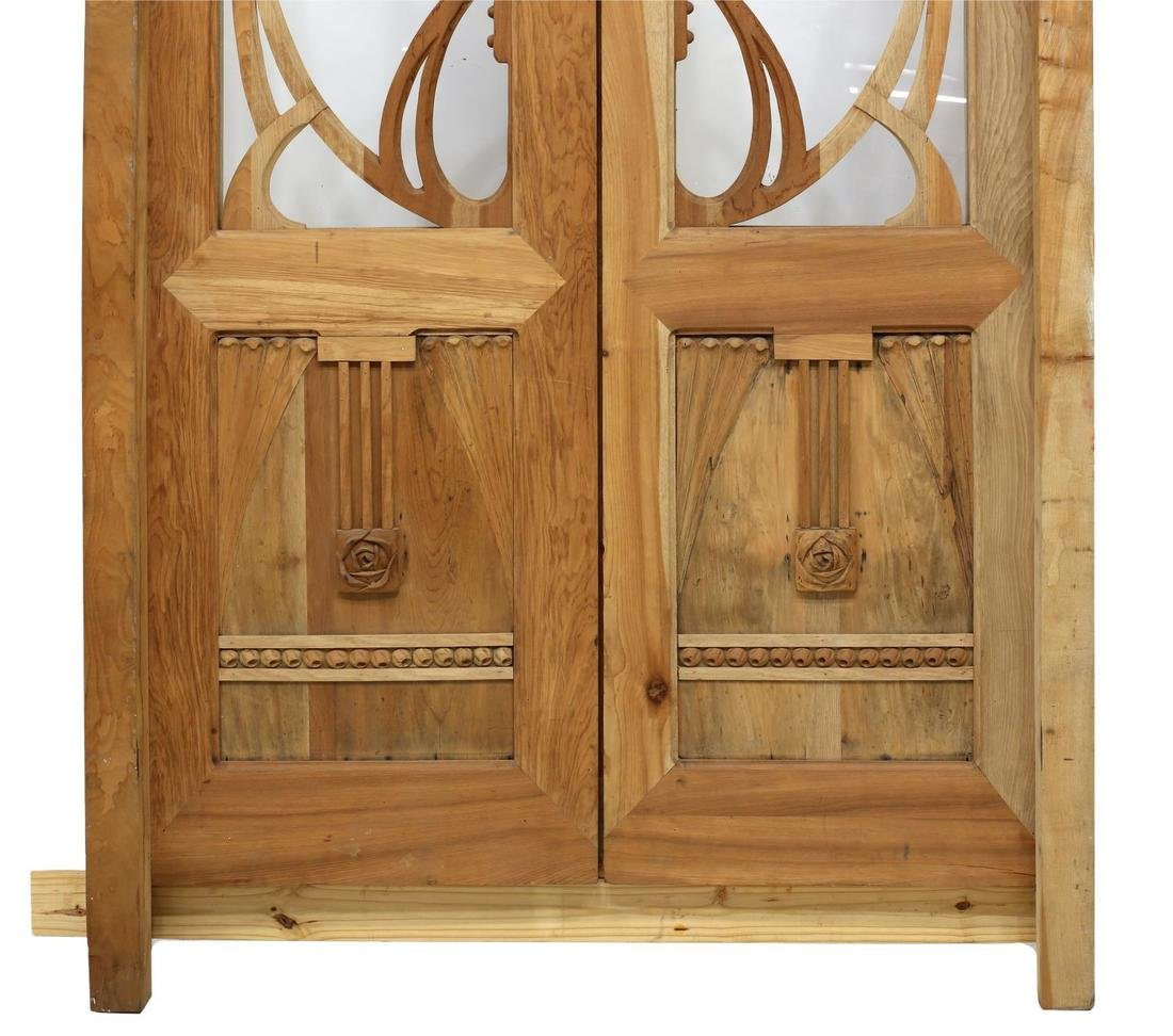 (PAIR) FANCY WOOD & GLASS DOORS WITH FRAME - 3