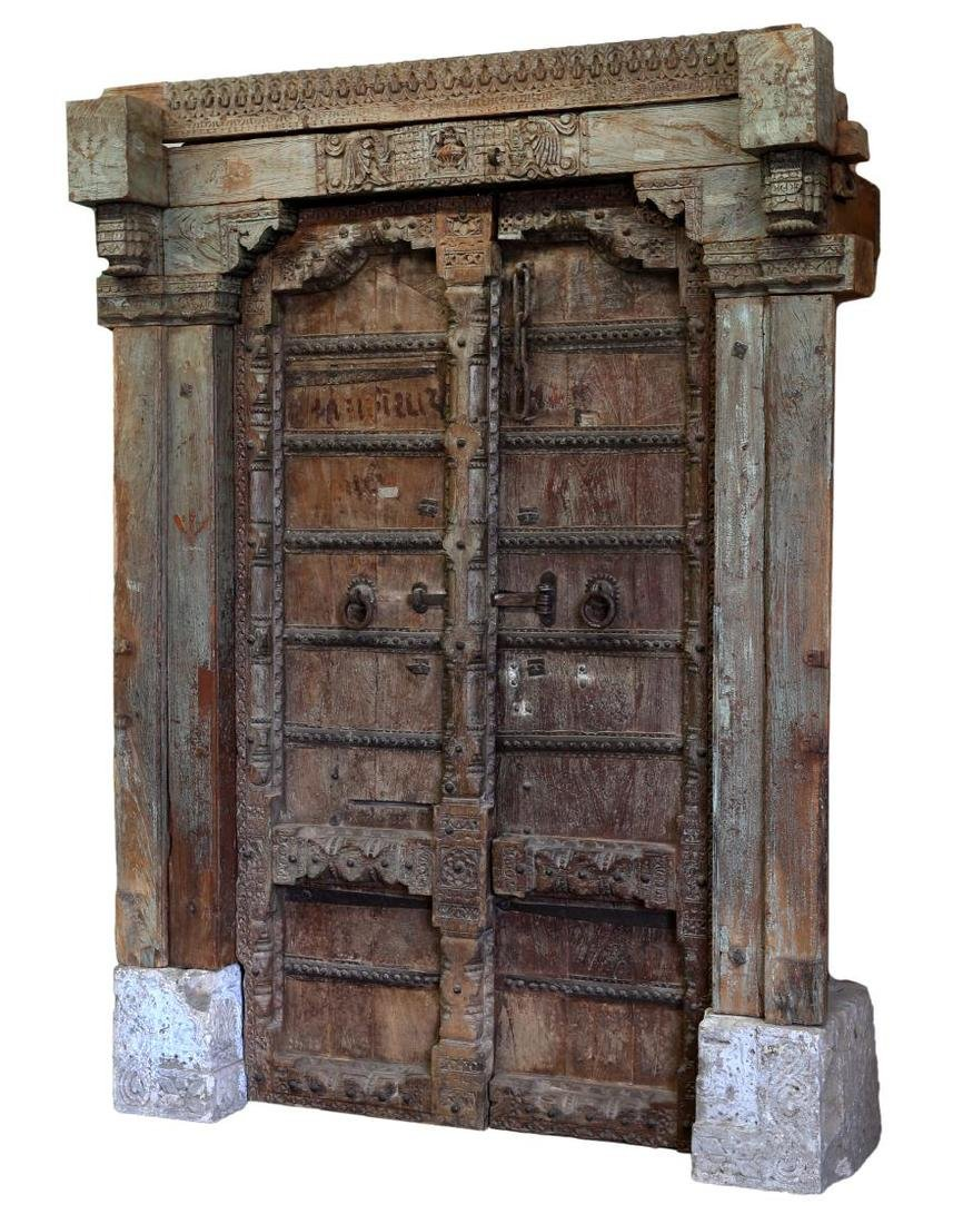CARVED 19TH C DOUBLE DOORS & FRAME, COLUMNS, STONE