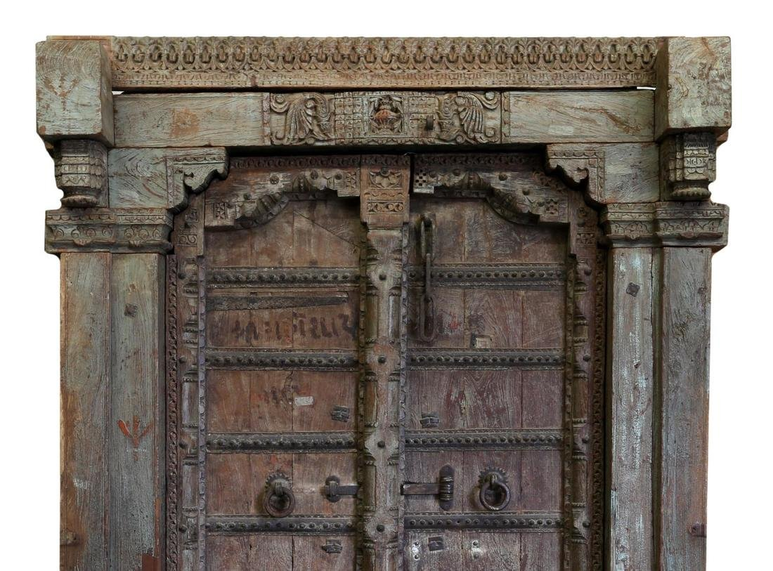 CARVED 19TH C DOUBLE DOORS & FRAME, COLUMNS, STONE - 3