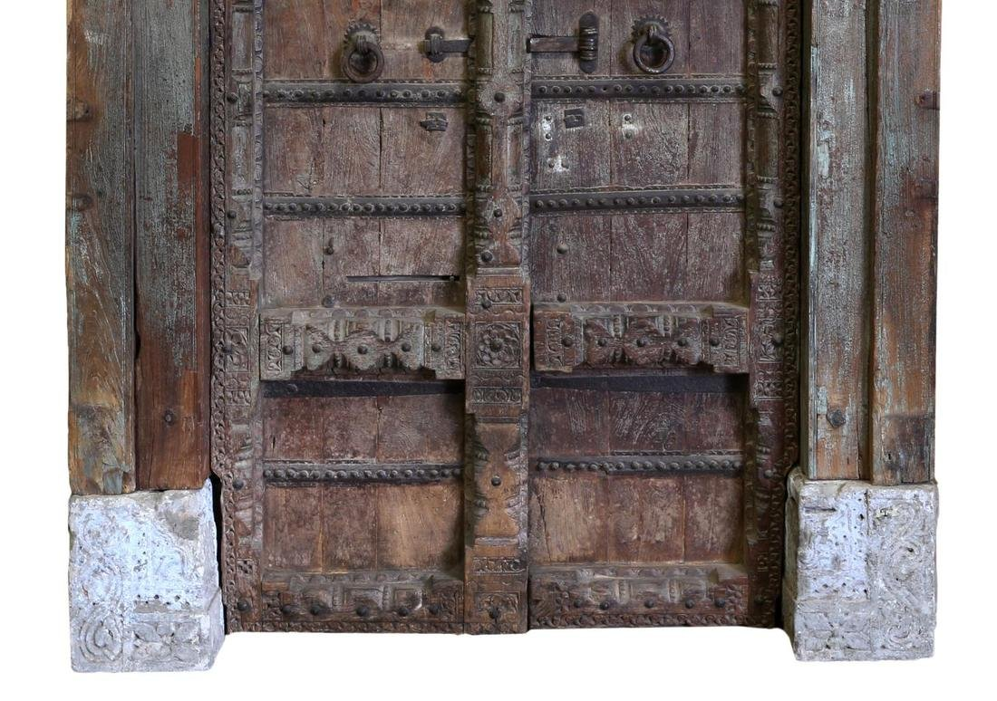 CARVED 19TH C DOUBLE DOORS & FRAME, COLUMNS, STONE - 4