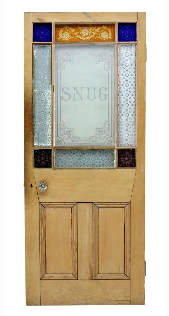 ARCHITECTURAL ETCHED & COLORED GLASS PINE DOOR