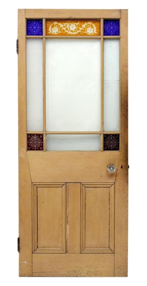 ARCHITECTURAL ETCHED & COLORED GLASS PINE DOOR - 2
