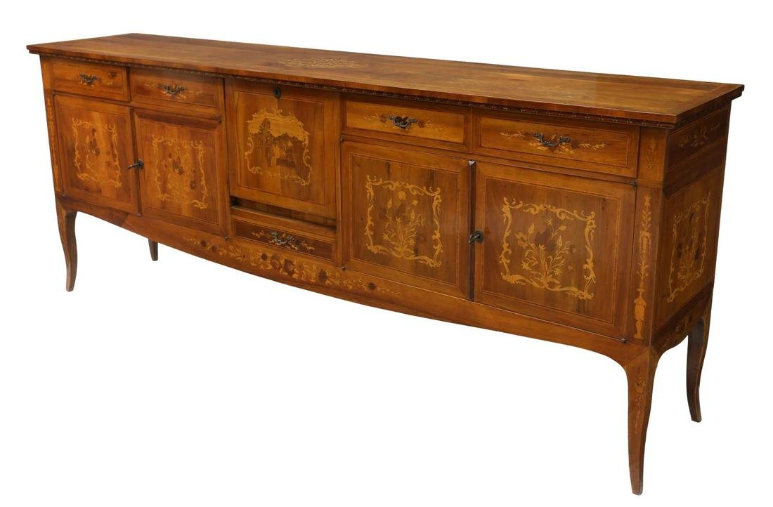 ITALIAN MARQUETRY INLAID SIDEBOARD, 20TH CENTURY