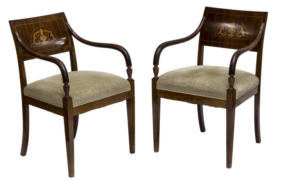 (2) ENGLISH PEMBROKE STYLE INLAID ARM CHAIRS