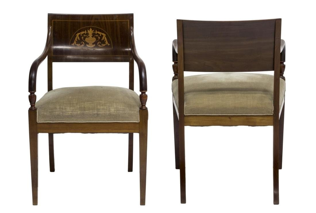 (2) ENGLISH PEMBROKE STYLE INLAID ARM CHAIRS - 2