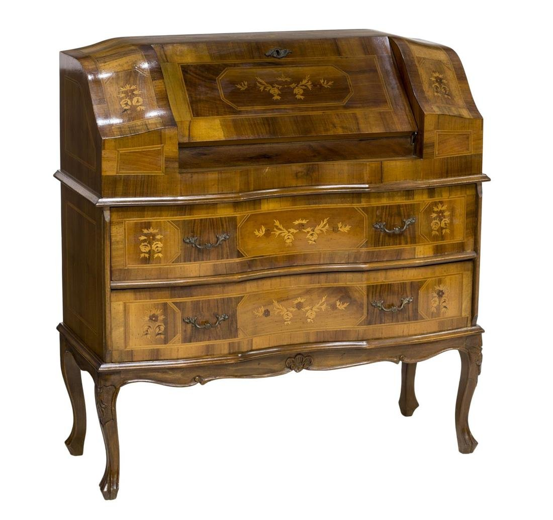 ITALIAN LOUIS XV INLAID FALL FRONT SECRETAIRE