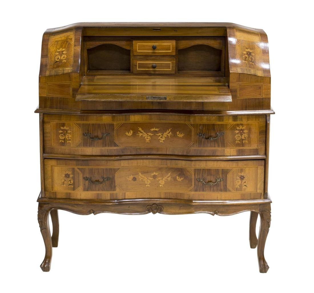 ITALIAN LOUIS XV INLAID FALL FRONT SECRETAIRE - 3
