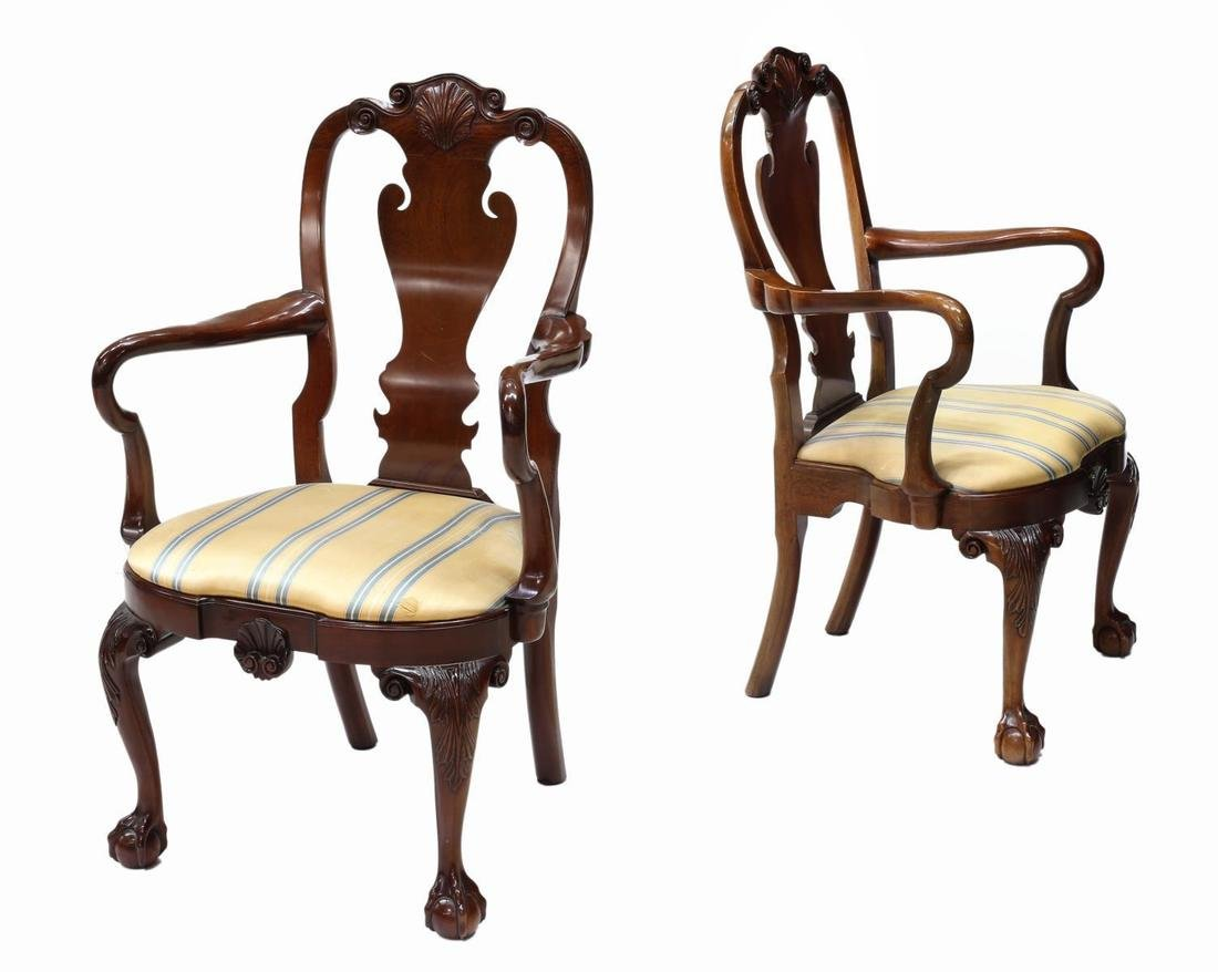 (PAIR) KINDEL WINTERTHUR QUEEN ANNE ARM CHAIRS