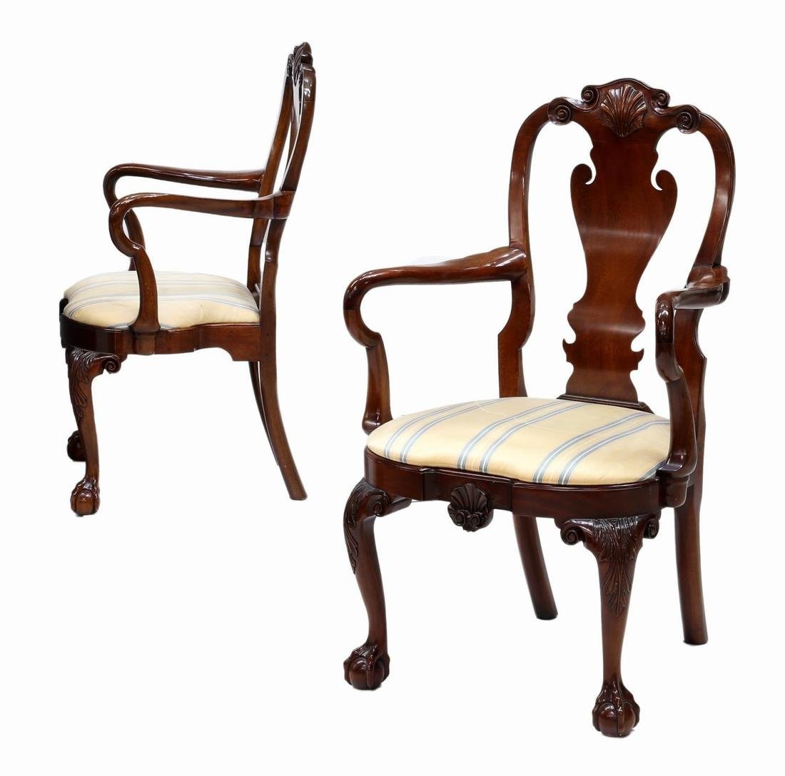 (PAIR) KINDEL WINTERTHUR QUEEN ANNE ARM CHAIRS - 3
