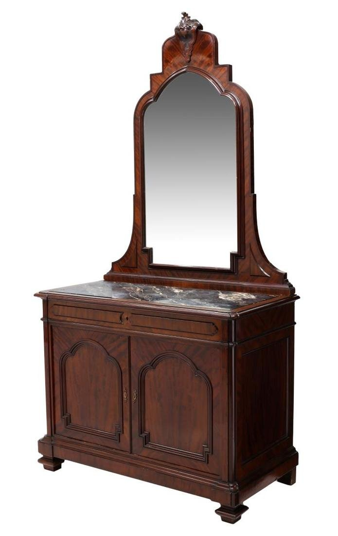 CONTINENTAL MAHOGANY MIRRORED MARBLE TOP COMMODE
