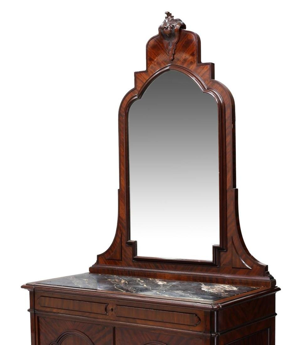 CONTINENTAL MAHOGANY MIRRORED MARBLE TOP COMMODE - 2