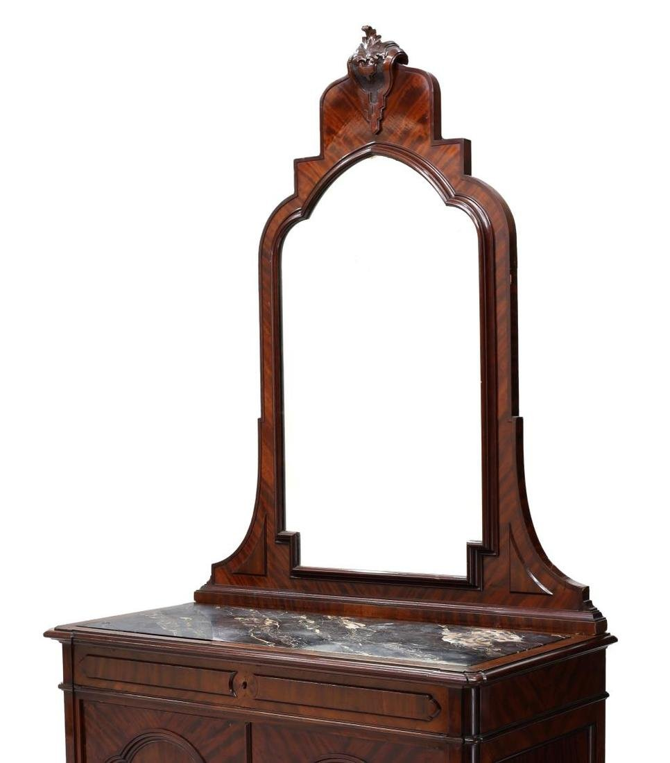 CONTINENTAL MAHOGANY MIRRORED MARBLE TOP COMMODE - 3