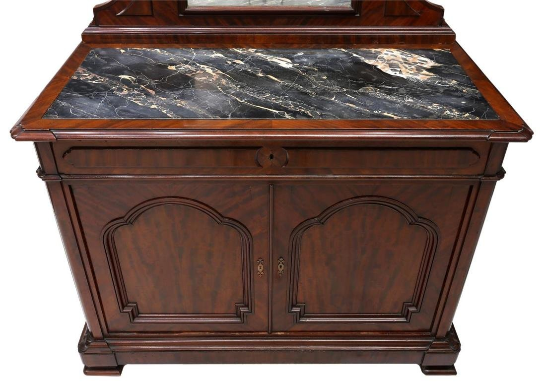 CONTINENTAL MAHOGANY MIRRORED MARBLE TOP COMMODE - 5