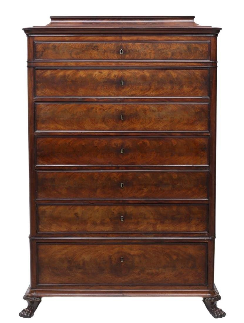 BIEDERMEIER MAHOGANY VENEER TALL CHEST OF DRAWERS - 2