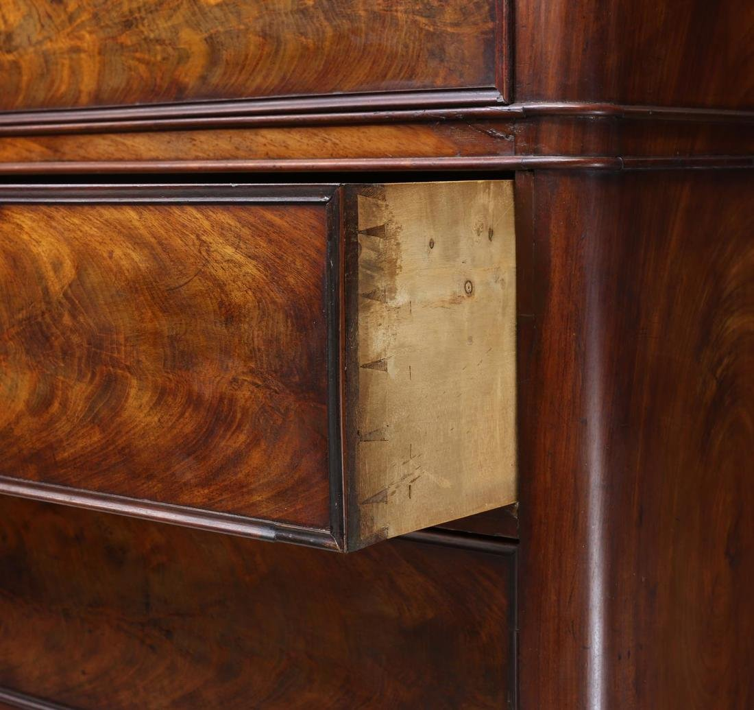 BIEDERMEIER MAHOGANY VENEER TALL CHEST OF DRAWERS - 3