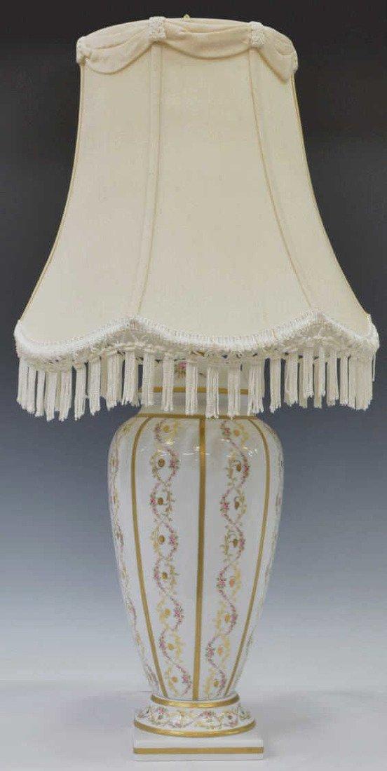 LIMOGES PARCEL GILT PAINTED PORCELAIN TABLE LAMP