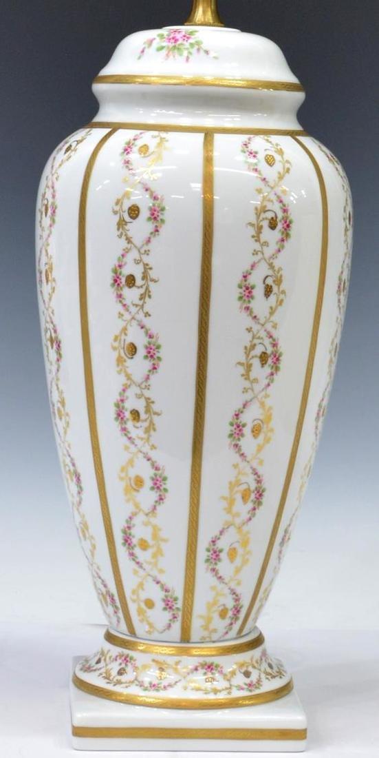 LIMOGES PARCEL GILT PAINTED PORCELAIN TABLE LAMP - 2