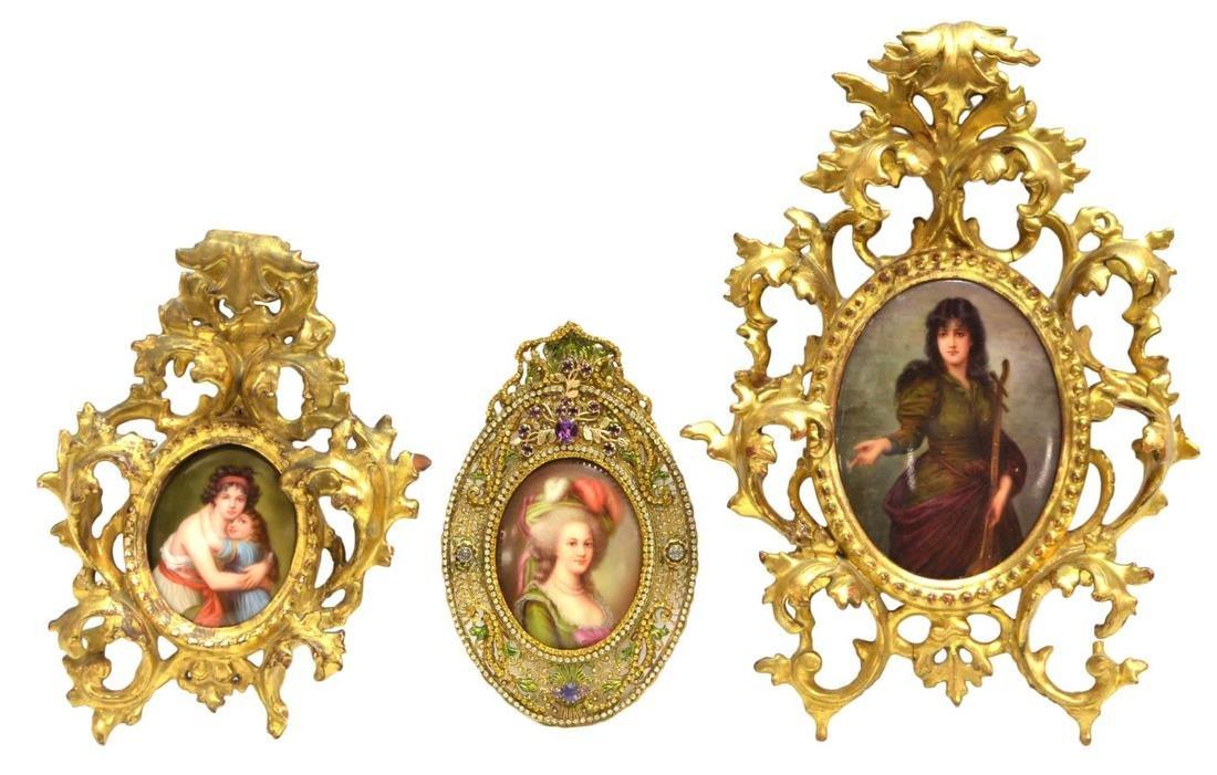 (3)GILT FRAMED HUTSCHENREUTHER PORCELAIN PORTRAITS