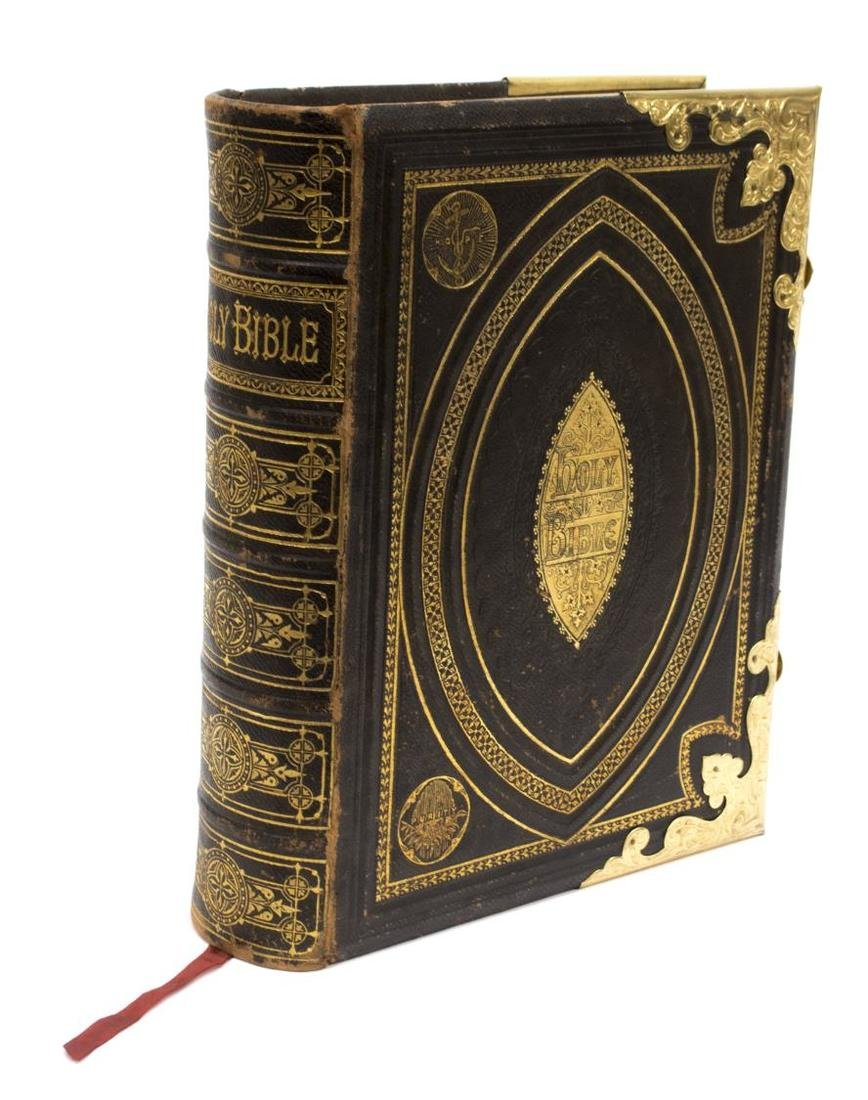 ANTIQUE ENGLISH LEATHER & BRASS BOUND FAMILY BIBLE