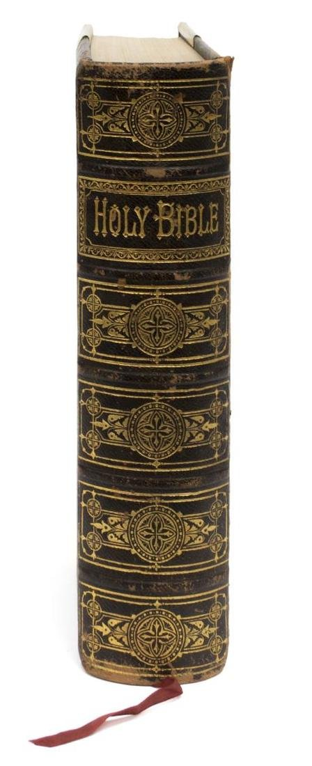 ANTIQUE ENGLISH LEATHER & BRASS BOUND FAMILY BIBLE - 2