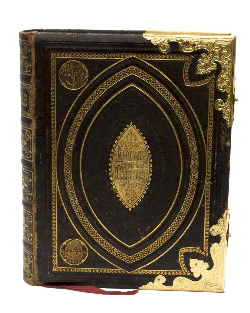 ANTIQUE ENGLISH LEATHER & BRASS BOUND FAMILY BIBLE - 3