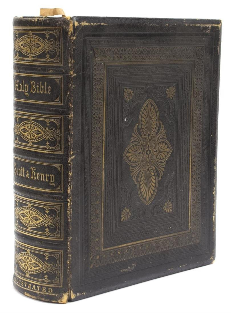 ANTIQUE ENGLISH LEATHER BOUND FAMILY BIBLE, C.1875