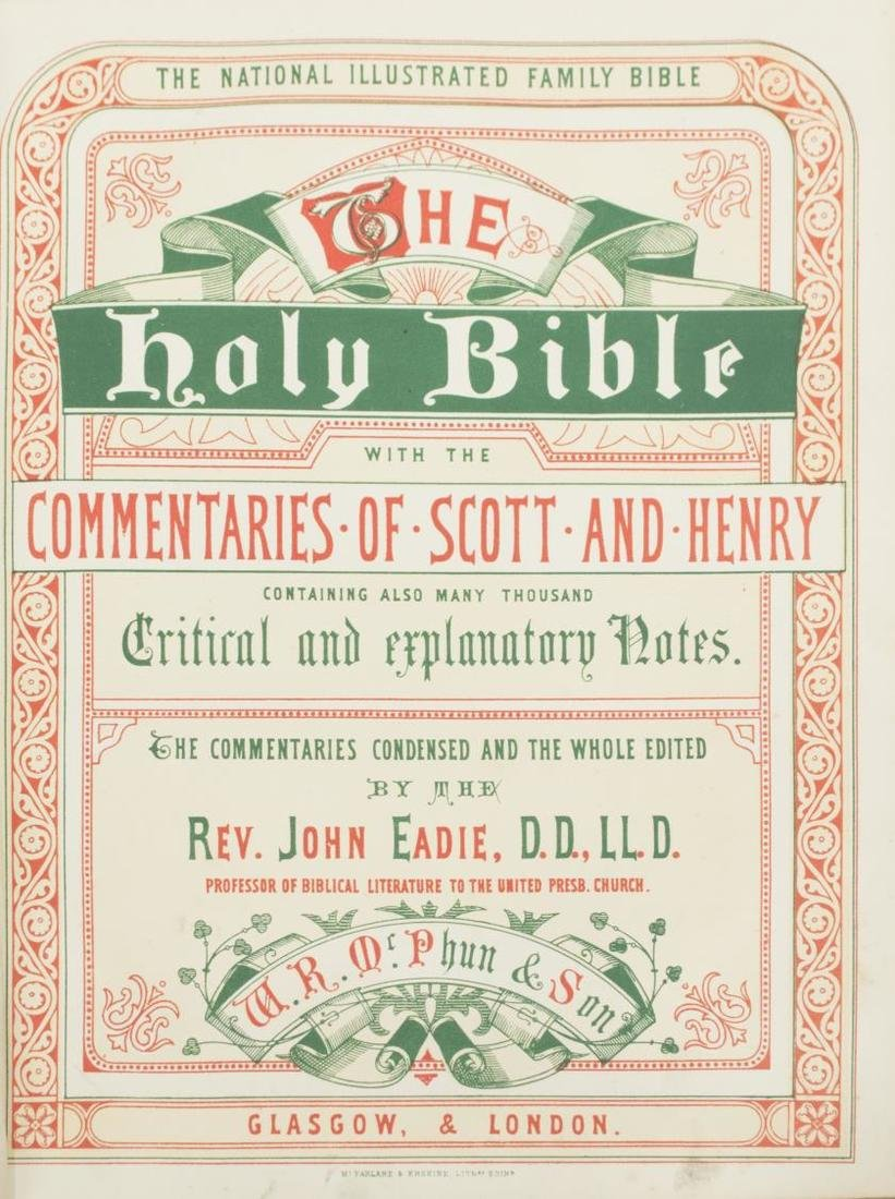 ANTIQUE ENGLISH LEATHER BOUND FAMILY BIBLE, C.1875 - 4