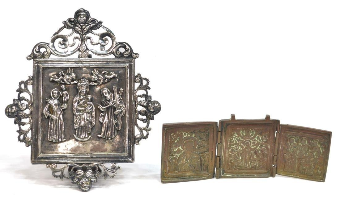 (2) RUSSIAN BRONZE TRIPTYCH & SILVER STANDING ICON