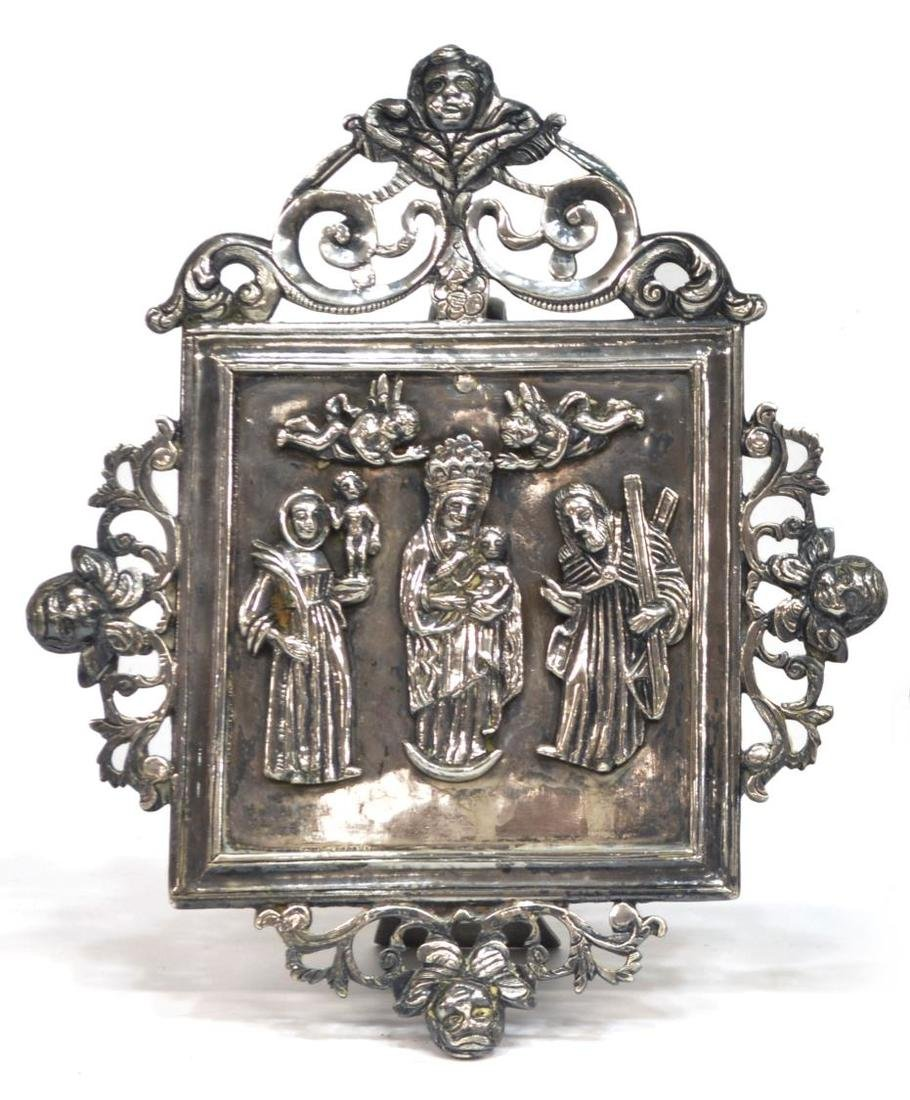(2) RUSSIAN BRONZE TRIPTYCH & SILVER STANDING ICON - 2