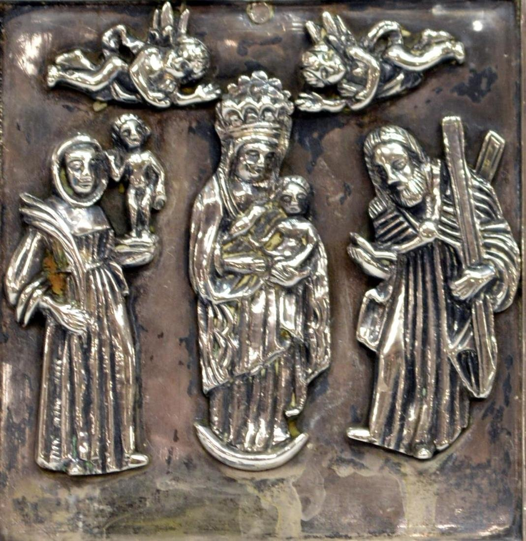 (2) RUSSIAN BRONZE TRIPTYCH & SILVER STANDING ICON - 3