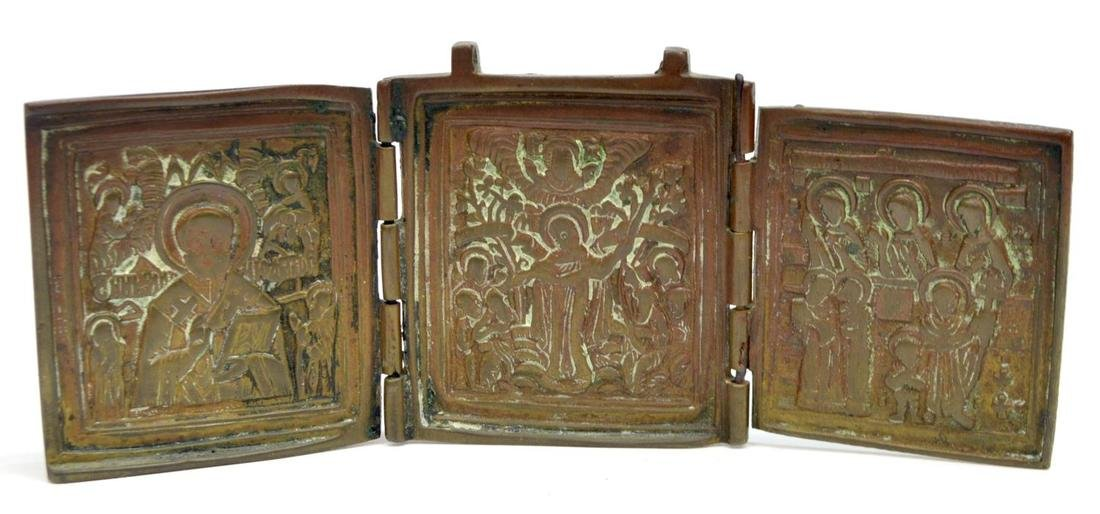 (2) RUSSIAN BRONZE TRIPTYCH & SILVER STANDING ICON - 5