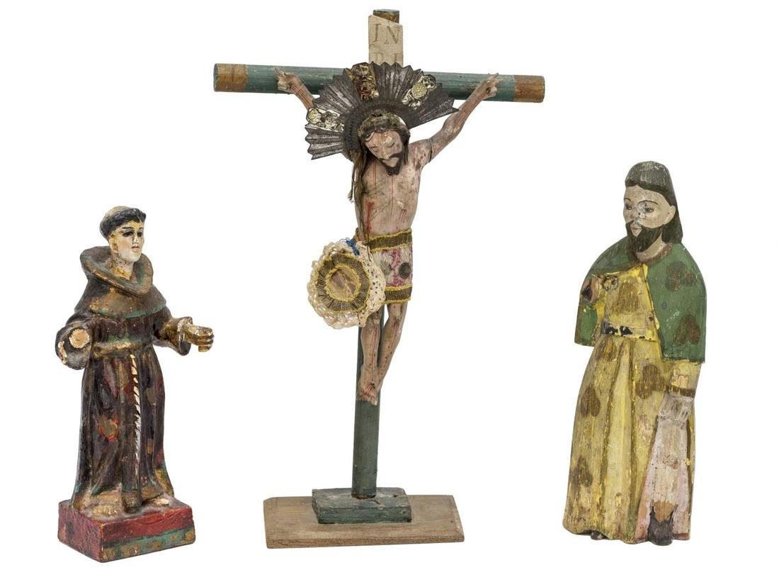 (3) COLLECTION MEXICAN SANTOS FIGURES, CRUCIFIX