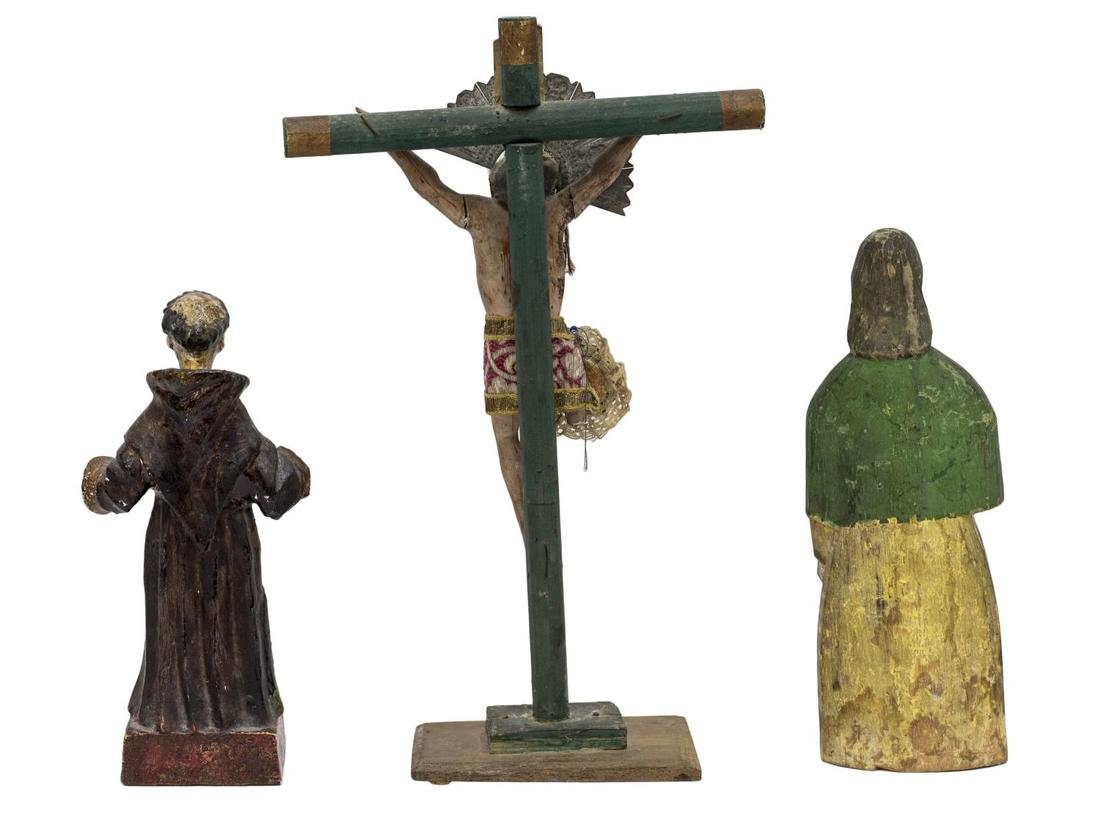 (3) COLLECTION MEXICAN SANTOS FIGURES, CRUCIFIX - 2