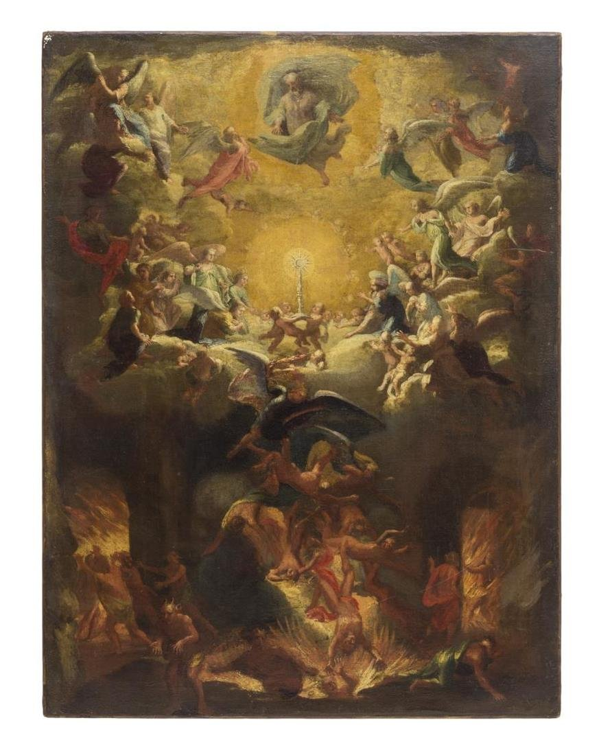 RELIGIOUS PAINTING, THE LAST JUDGEMENT, 17th C.