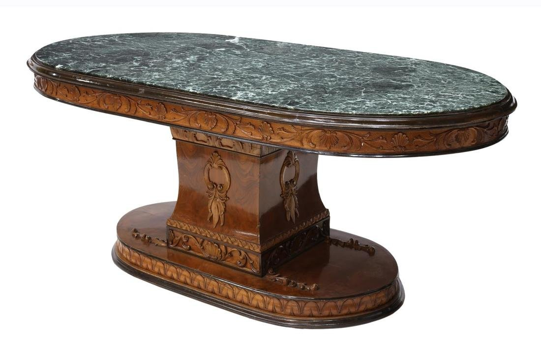 ITALIAN EMPIRE STYLE MARBLE TOP DINING TABLE