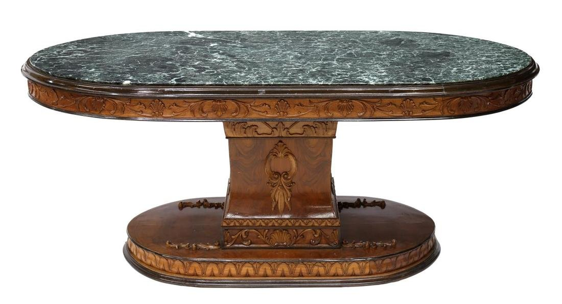 ITALIAN EMPIRE STYLE MARBLE TOP DINING TABLE - 2